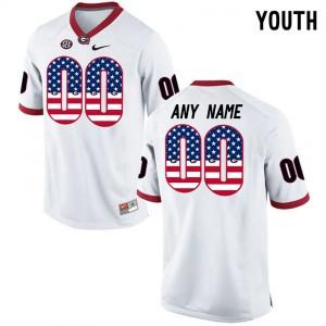Men Georgia Bulldogs #00 Customized Elite White College Football Jersey 557432-868