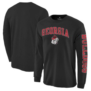 Men Georgia Bulldogs Distressed Arch Over Logo Black Hit Long Sleeve College Football T-Shirt 336408-727