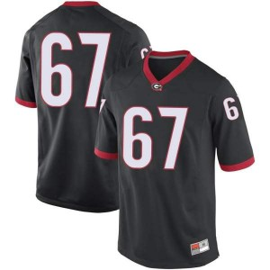 Men Georgia Bulldogs #67 Caleb Jones Black Replica College Football Jersey 715807-664