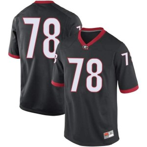 Men Georgia Bulldogs #78 Chad Lindberg Black Replica College Football Jersey 501000-222