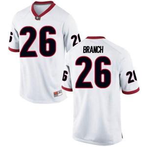 Men Georgia Bulldogs #26 Daran Branch White Replica College Football Jersey 440014-607