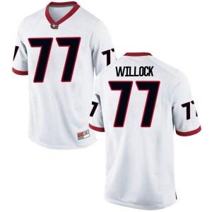 Men Georgia Bulldogs #77 Devin Willock White Replica College Football Jersey 613097-721