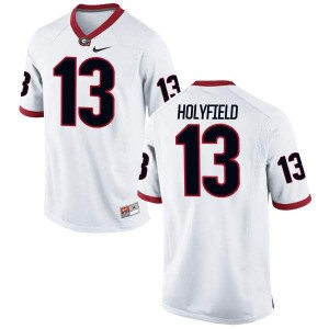 Men Georgia Bulldogs #13 Elijah Holyfield White Game College Football Jersey 516959-848