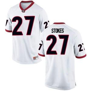 Men Georgia Bulldogs #27 Eric Stokes White Game College Football Jersey 902434-658
