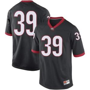 Men Georgia Bulldogs #39 Hugh Nelson Black Replica College Football Jersey 673205-519