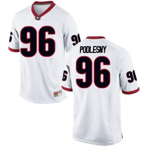 Men Georgia Bulldogs #96 Jack Podlesny White Replica College Football Jersey 264991-620