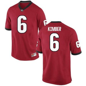 Men Georgia Bulldogs #6 Jalen Kimber Red Game College Football Jersey 298192-556