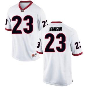 Men Georgia Bulldogs #23 Jaylen Johnson White Replica College Football Jersey 734900-945