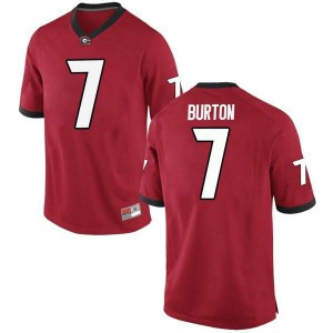 Men Georgia Bulldogs #7 Jermaine Burton Red Replica College Football Jersey 339049-364