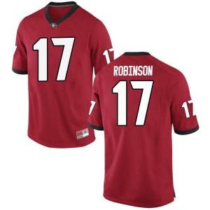 Men Georgia Bulldogs #17 Justin Robinson Red Game College Football Jersey 315765-306