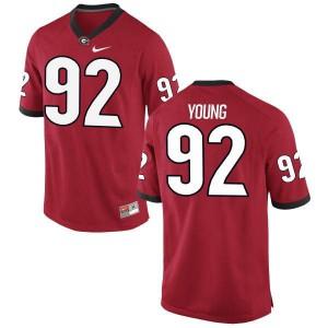 Men Georgia Bulldogs #92 Justin Young Red Replica College Football Jersey 667114-590