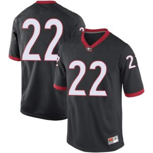 Men Georgia Bulldogs #22 Kendall Milton Black Replica College Football Jersey 284149-829