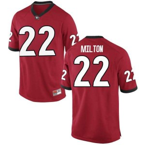 Men Georgia Bulldogs #22 Kendall Milton Red Replica College Football Jersey 281489-500