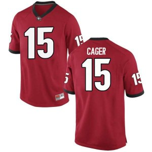 Men Georgia Bulldogs #15 Lawrence Cager Red Replica College Football Jersey 777053-905