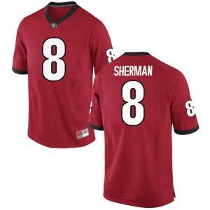 Men Georgia Bulldogs #8 MJ Sherman Red Replica College Football Jersey 998806-428