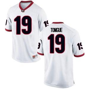 Men Georgia Bulldogs #19 Makiya Tongue White Replica College Football Jersey 693363-851