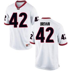 Men Georgia Bulldogs #42 Matthew Brown White Replica College Football Jersey 154457-446