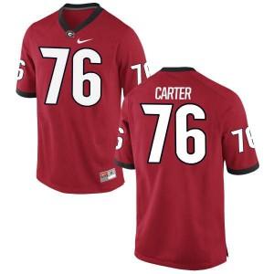 Men Georgia Bulldogs #76 Michail Carter Red Replica College Football Jersey 447625-794