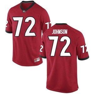 Men Georgia Bulldogs #72 Netori Johnson Red Game College Football Jersey 817576-554
