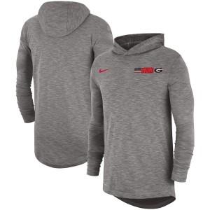 Men Georgia Bulldogs Performance Sideline Slub Gray Hoodie Long Sleeve College Football T-Shirt 478127-291