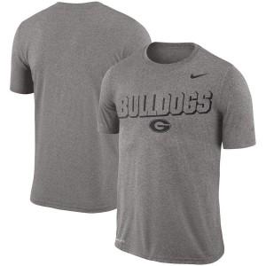 Men Georgia Bulldogs Gray Heathered Wordmark Legend Lift Performance College Football T-Shirt 596147-681