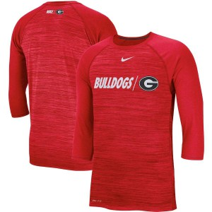 Men Georgia Bulldogs Baseball Performance Legend Raglan 3/4-Sleeve Red College Football T-Shirt 351475-815