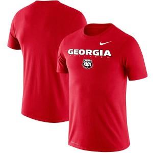 Men Georgia Bulldogs Facility Legend Performance Red College Football T-Shirt 560311-614