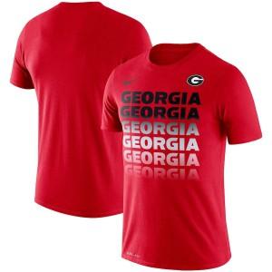 Men Georgia Bulldogs Fade Performance Red College Football T-Shirt 379462-863