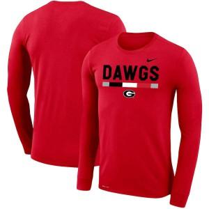 Men Georgia Bulldogs Team DNA Legend Performance Red Long Sleeve College Football T-Shirt 871409-663