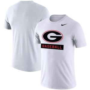 Men Georgia Bulldogs Baseball White Stack Legend Performance Logo College Football T-Shirt 295449-999