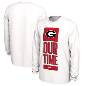 Men Georgia Bulldogs Basketball Our Time Bench Legend Performance White Long Sleeve College Football T-Shirt 620088-260