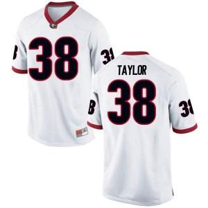 Men Georgia Bulldogs #38 Patrick Taylor White Game College Football Jersey 401912-636