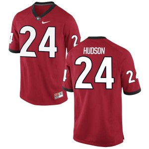 Men Georgia Bulldogs #24 Prather Hudson Red Authentic College Football Jersey 940402-327