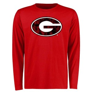 Men Georgia Bulldogs Classic Red Long Sleeve Primary College Football T-Shirt 518546-373