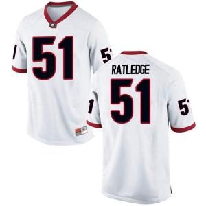 Men Georgia Bulldogs #51 Tate Ratledge White Game College Football Jersey 266528-739