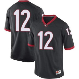 Men Georgia Bulldogs #12 Tommy Bush Black Replica College Football Jersey 732938-642