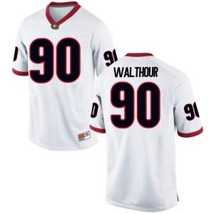 Men Georgia Bulldogs #90 Tramel Walthour White Replica College Football Jersey 656219-734
