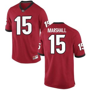 Men Georgia Bulldogs #15 Trezmen Marshall Red Replica College Football Jersey 491883-763