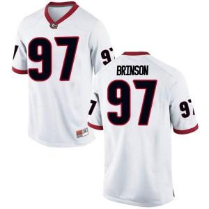 Men Georgia Bulldogs #97 Warren Brinson White Replica College Football Jersey 508053-692