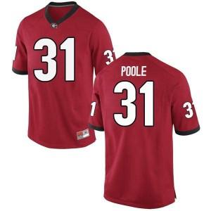 Men Georgia Bulldogs #31 William Poole Red Replica College Football Jersey 534021-761