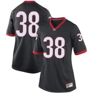 Women Georgia Bulldogs #38 Aaron Olalude Black Replica College Football Jersey 481012-176