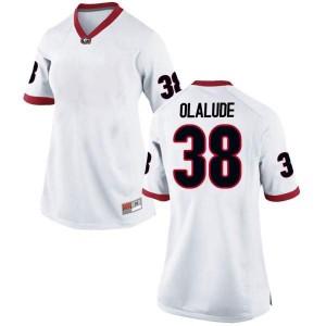 Women Georgia Bulldogs #38 Aaron Olalude White Replica College Football Jersey 339854-733