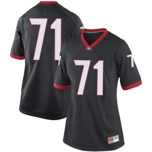 Women Georgia Bulldogs #71 Andrew Thomas Black Game College Football Jersey 453263-474