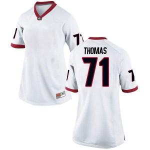 Women Georgia Bulldogs #71 Andrew Thomas White Game College Football Jersey 194361-735
