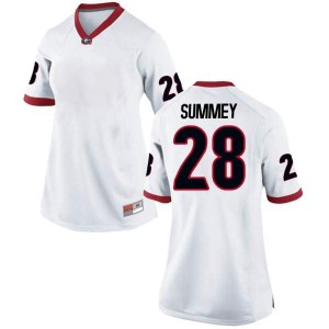 Women Georgia Bulldogs #28 Anthony Summey White Game College Football Jersey 932239-373