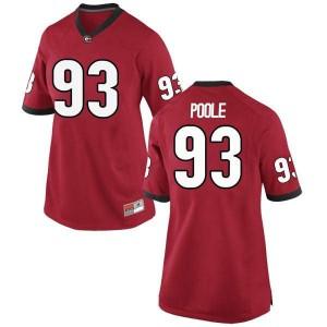 Women Georgia Bulldogs #93 Antonio Poole Red Replica College Football Jersey 478223-998