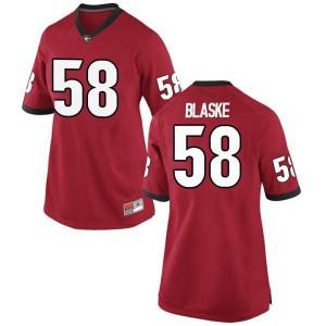 Women Georgia Bulldogs #58 Austin Blaske Red Replica College Football Jersey 539915-768