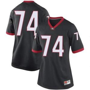 Women Georgia Bulldogs #74 Ben Cleveland Black Replica College Football Jersey 431716-409