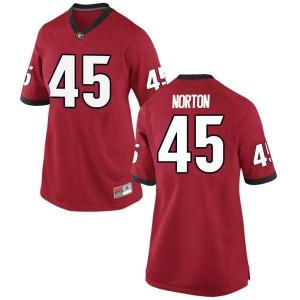 Women Georgia Bulldogs #45 Bill Norton Red Replica College Football Jersey 651491-294