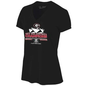 Women Georgia Bulldogs 2017 SEC Football Conference Black s Locker Room Champion College Football T-Shirt 686510-605
